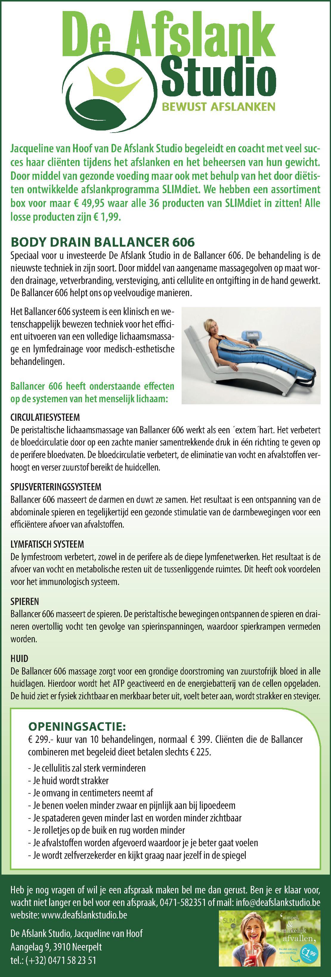 Advertentie De Afslank Studio, bewust afslanken